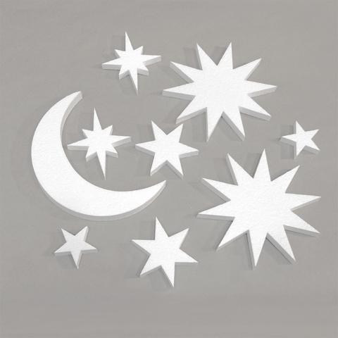 Месяц и звёзды из пенопласта