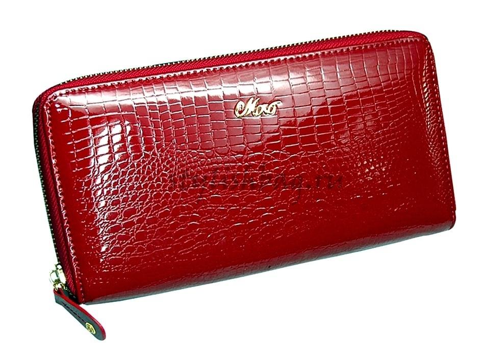 Женский кошелек-клатч 59046 красный на молнии Moro Jenny