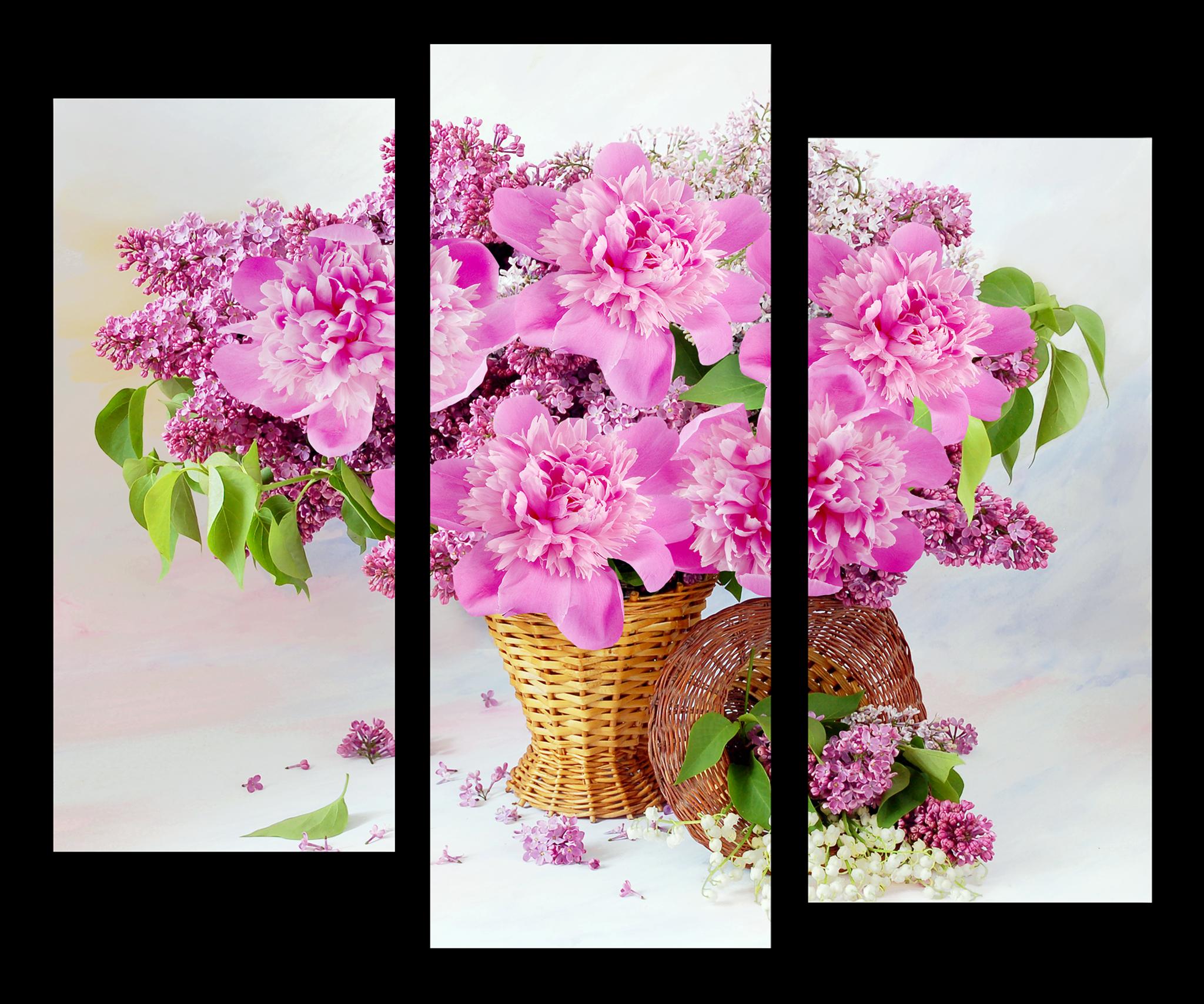 """Модульные картины Модульная картина """"Корзина с розовыми пионами"""" М1115.png"""
