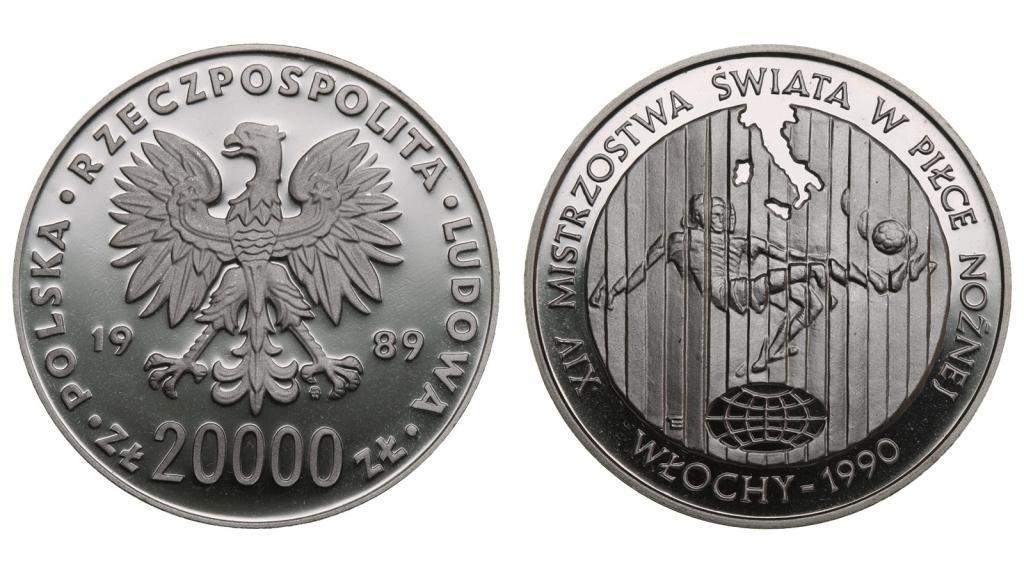 20000 злотых Футбол Чемпионат мира- Италия 1990. Польша 1989 год.