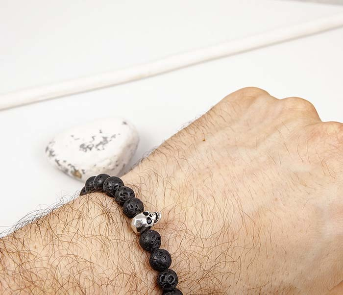 BS923 Мужской браслет из лавы с черепом фото 06