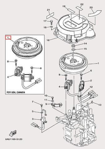 Маховик с венцом для лодочного мотора F9,9 Sea-PRO (11-1)