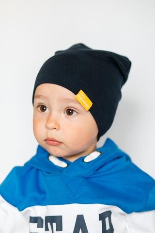 Детская шапка хлопковая гладкая темно-синяя