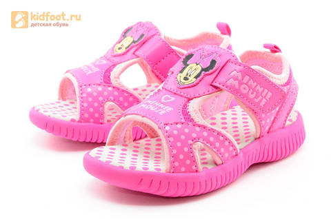 Босоножки Минни Маус (Minnie Mouse) на липучке для девочек, цвет розовый белый. Изображение 6 из 13.