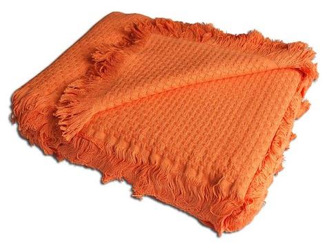 Плед вязаный хлопковый  Design  оранжевый 1536 Buddemeyer Бразилия
