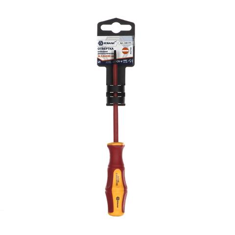 Отвертка диэлектрическая КОБАЛЬТ Ultra Grip SL 3,0 х 100 мм CR-V, двухкомпонентная рукоятк (248-771)