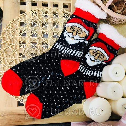Новогодние носки домашние женские Дед Мороз (цвет: чёрный-красный)