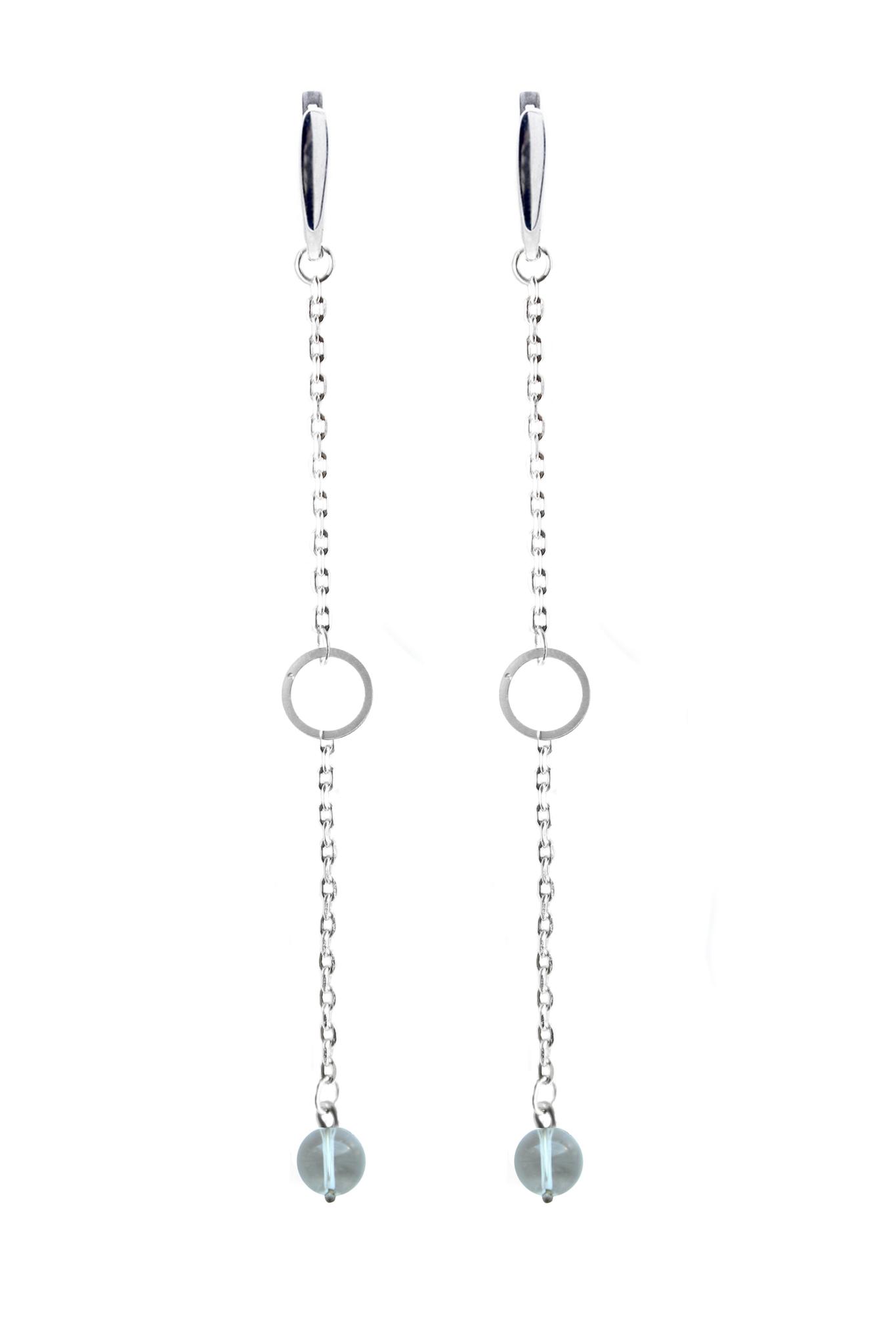 Серебряные серьги на цепочке с горным хрусталем и кругом
