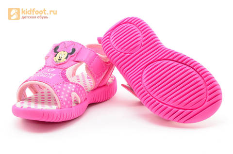 Босоножки Минни Маус (Minnie Mouse) на липучке для девочек, цвет розовый белый. Изображение 8 из 13.