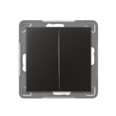 Выключатель/переключатель двухклавишный на 2 направления(проходной схема 6+1). Цвет Антрацит. Ospel. Impresja. LP-9Y/m/50