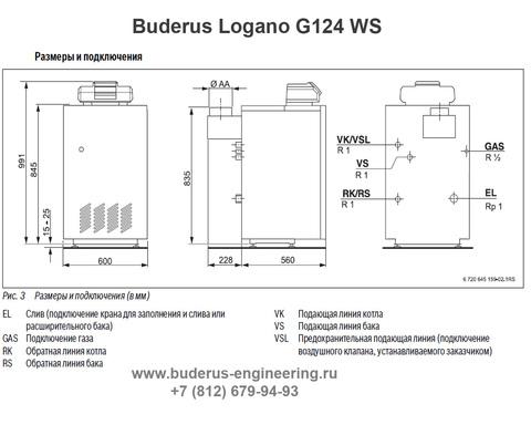 Buderus Logano G124-20WS Газовый Напольный Чугунный Атмосферный котел (RU-TOP) (Размеры подключения)