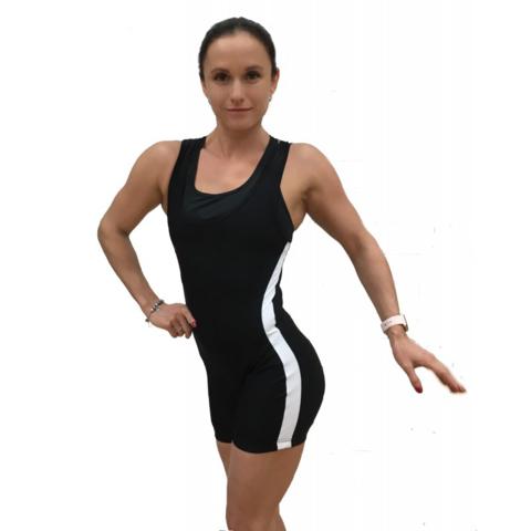 купить женское трико для пауэрлифтинга, тяжелой атлетики, борьбы модель master белые полосы