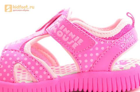 Босоножки Минни Маус (Minnie Mouse) на липучке для девочек, цвет розовый белый. Изображение 10 из 13.