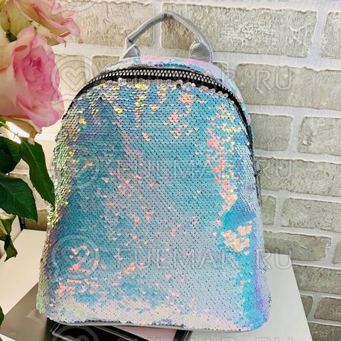 Большой рюкзак в двусторонних пайетках для девочки (цвет: Голубой хамелеон-Зеркальный)