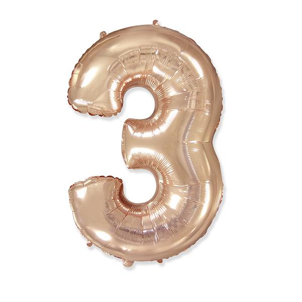 Фольгированная цифра 3, розовое золото