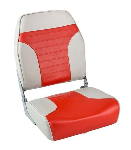 Сиденье мягкое складное ECONOMY с высокой спинкой, серо-красное