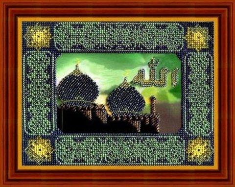 Тема: Религия, восток¶Техника: Вышивание бисером. Частичная вышивка.¶Размер: 21х16 см¶Основа: Ткань