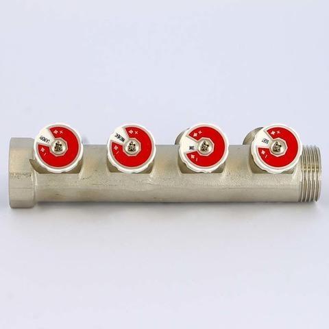 Коллектор НВ 1' 4х3/4 EK H 40мм никелированный с вентилями Uni-Fitt
