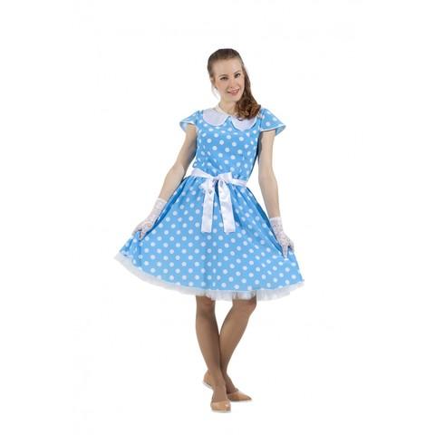 Платье в стиле 50-х голубое в горох
