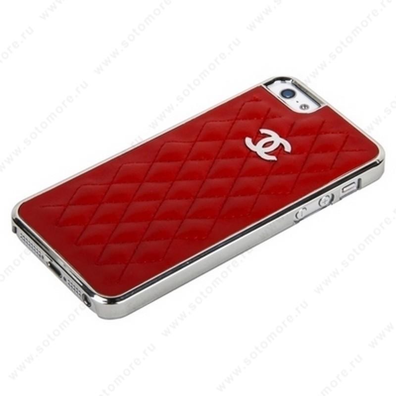 Накладка CHANEL для iPhone SE/ 5s/ 5C/ 5 серебряная+красная кожа