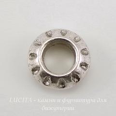 Бусина металлическая для пандоры - рондель 10х4 мм (цвет - античное серебро)
