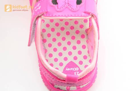 Босоножки Минни Маус (Minnie Mouse) на липучке для девочек, цвет розовый белый. Изображение 12 из 13.