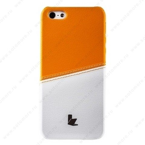 Накладка Jisoncase для iPhone SE/ 5s/ 5C/ 5 двухцветная белая/оранжевая JS-IP5-05H
