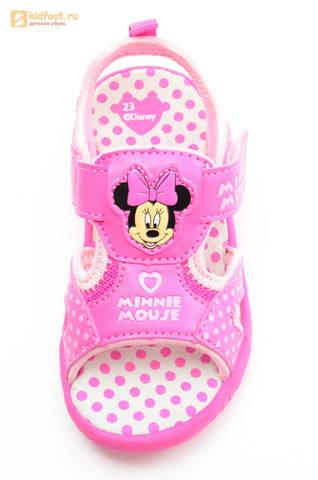 Босоножки Минни Маус (Minnie Mouse) на липучке для девочек, цвет розовый белый. Изображение 13 из 13.
