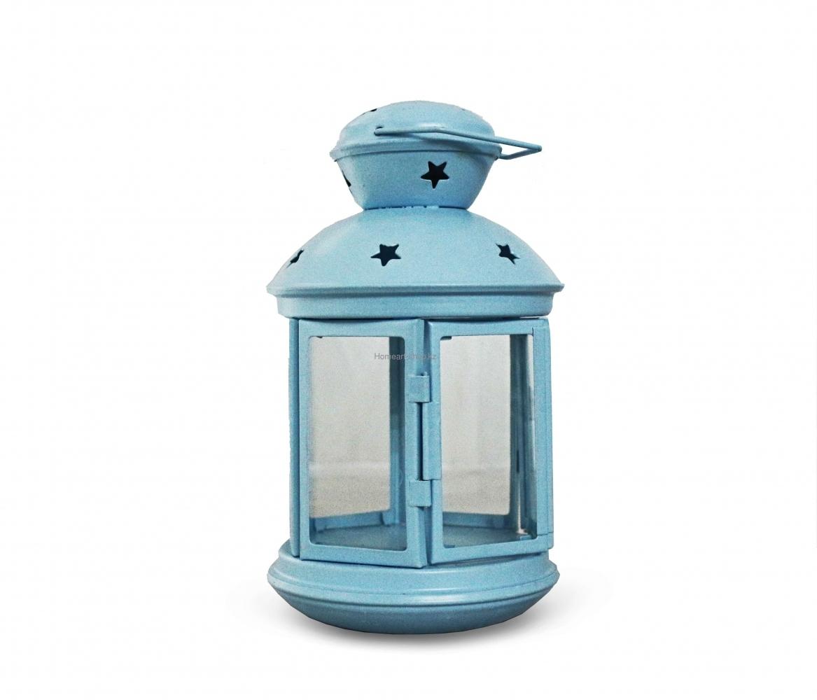 Подсвечник-фонарь, в наличии розовый, голубой и белый цвет, 20 см.
