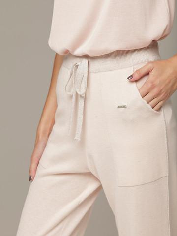Розовые брюки из шёлка и кашемира спортивного силуэта - фото 5