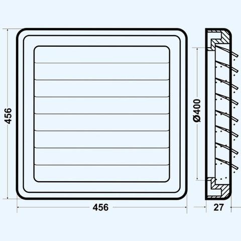 Решетка с гравитационными жалюзи (460х460, D 400) Эра 4646К40Ф Серая