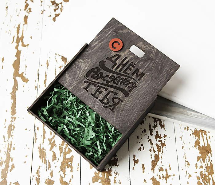 BOX227-1 Деревянная коробка для подарка на День рождения (17*17*7 см) фото 05
