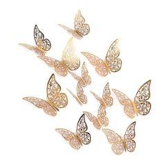 Наклейки Бабочки №3 12 шт бумага золото, Размер: 8 см-4 шт, 10 см-4 шт, 12 см-4 шт.