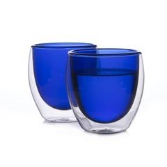 Набор стаканов из двойного стекла синего цвета 250 мл, 2 шт.