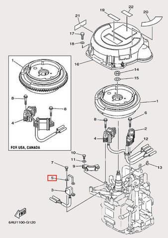 Держатель катушки для лодочного мотора F9,9 Sea-PRO (11-5)