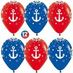 Шар (12''/30 см) Морской, Красный (015) / Синий (041), пастель, 5 ст, 50 шт.