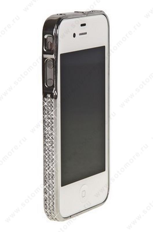 Бампер металлический для iPhone 4s/ 4 со стразами серебряный