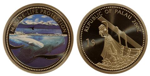 1 доллар Кит, кашалот, русалка. Защита морской жизни. Палау 2002 год. PROOF