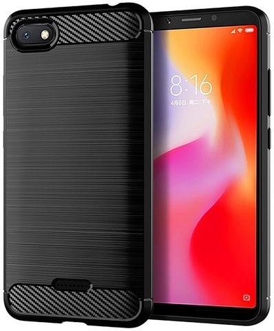 Чехол Xiaomi Redmi 6A цвет Black (черный), серия Carbon, Caseport