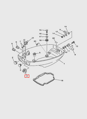 Заглушка поддона  для лодочного мотора T15, OTH 9,9 SEA-PRO (10-4)