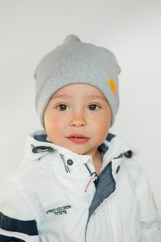 Детская шапка хлопковая в рубчик серая меланжевая