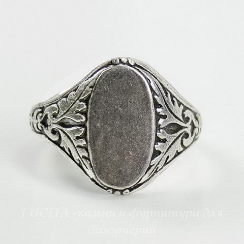 Винтажная основа для кольца с площадкой 14х8 мм для кабошона (оксид серебра) ()