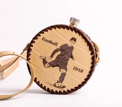 Фляга круглая в кожаном чехле «Football-2018», 0,5 l, фото 2