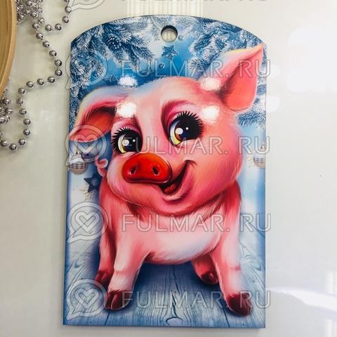Доска разделочная деревянная Новогодняя декоративная Большая Свинка зимняя