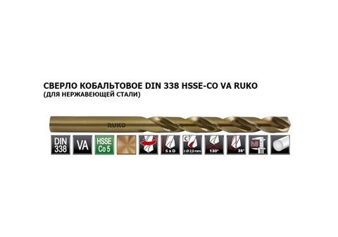 Сверло по металлу ц/x 10,5x133/87мм DIN338 h8 5xD HSSE-Co5 VA 130° Ruko 215105