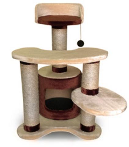 Когтеточка - Домик с тремя уровнями площадок и игрушкой