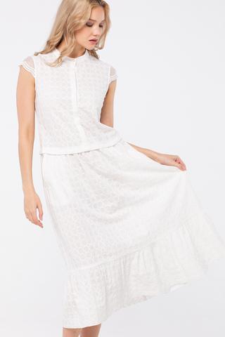 Фото белое летнее хлопковое платье ниже колена с коротким рукавом - Платье З289-503 (1)