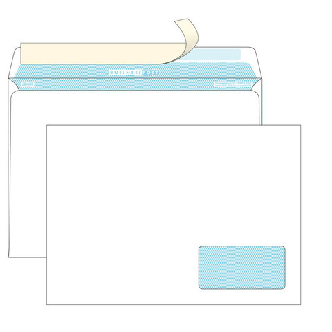 Конверт BusinessPost C4 100 г/кв.м белый стрип с внутренней запечаткой с правым окном (250 штук в упаковке)