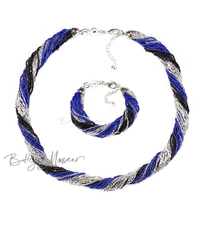 Комплект из бисера черно-синий 24 нити