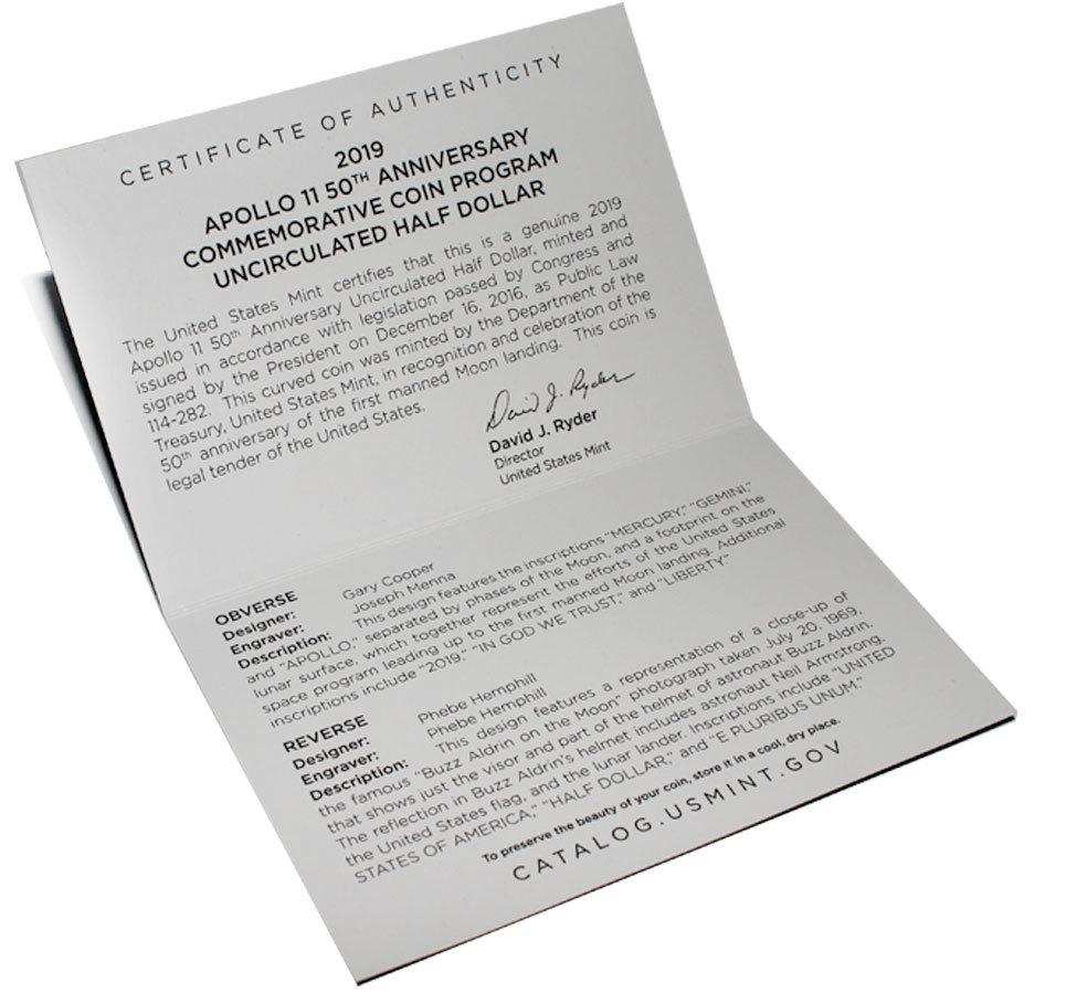 50 центов США - Аполлон 11. 2019 год. UNC